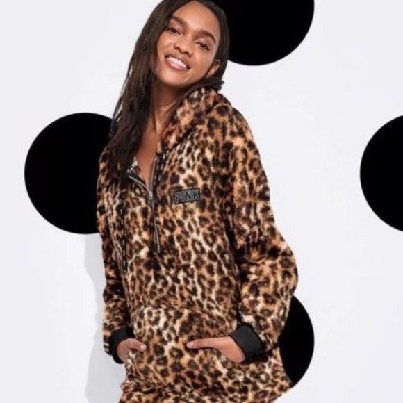 192c7b896d51d Victoria's Secret PINK Leopard Sherpa Hoodie NWT NWT